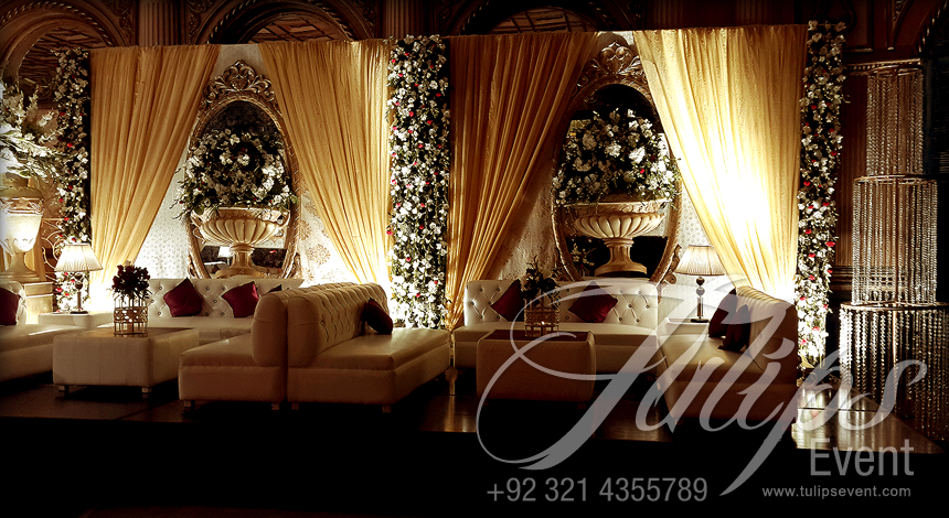 Grand walima stage decoration setup planner in lahore for Different types of wedding decorations