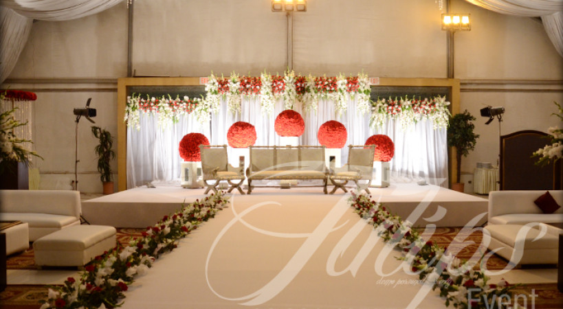 The grand red white walima stage decoration in pakistan grand red white walima stage junglespirit Gallery