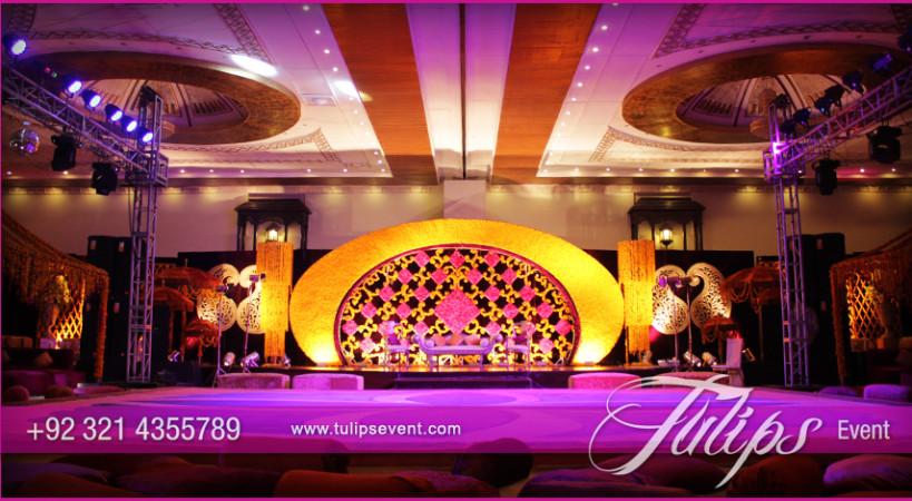 Mehndi Decoration Hall : Plum gold mehndi stage decoration ideas in pakistan