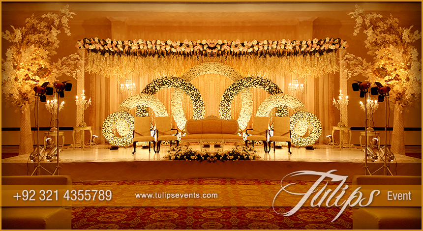Gold theme stage design setup decoration ideas in pakistan for 25th wedding anniversary stage decoration