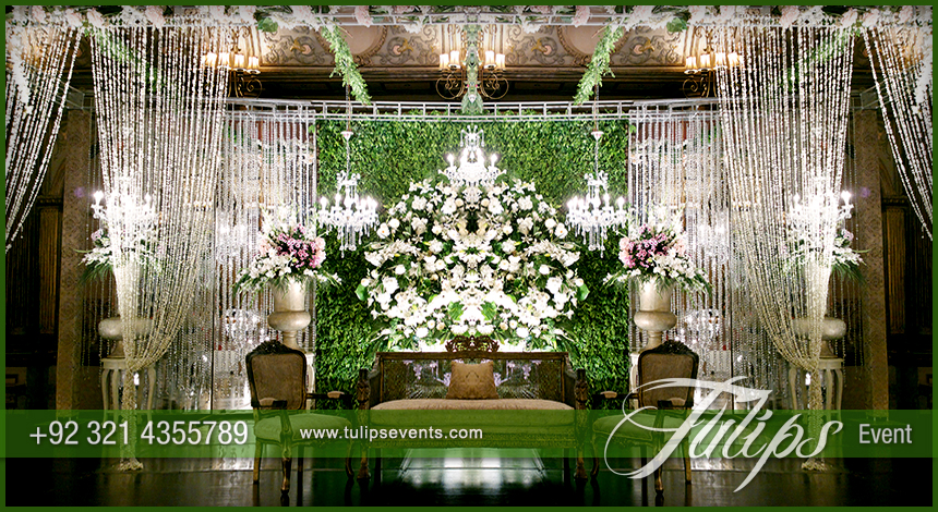 Green Reception Stage Decoration Theme Planner In Pakistan