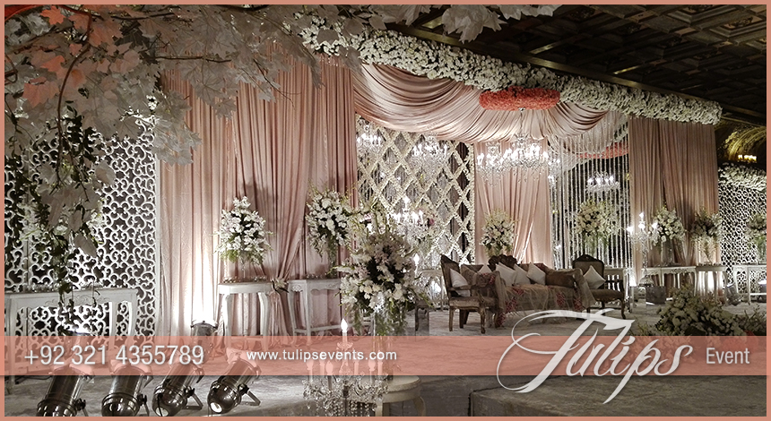 Pink White Pakistani Wedding Stage Setup Ideas By Tulips Events 10