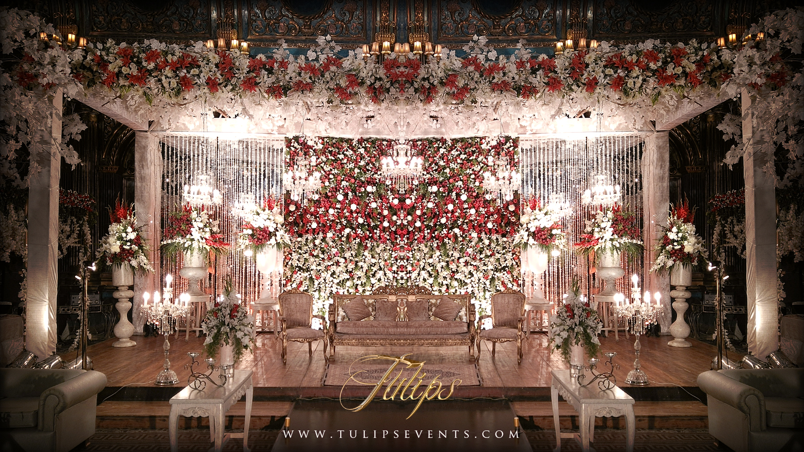 Red And White Pakistani Reception Stage Decoration By