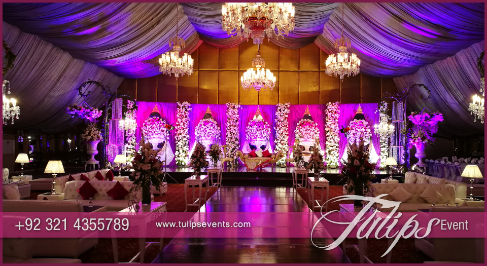 Plum And Gold Wedding Reception Stage Decorations In Pakistan 15