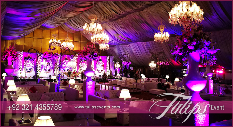 Plum And Gold Wedding Reception Stage Decorations In Pakistan 24