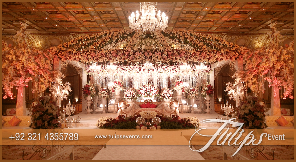 White Garden Walima stage - Tulips Event Management