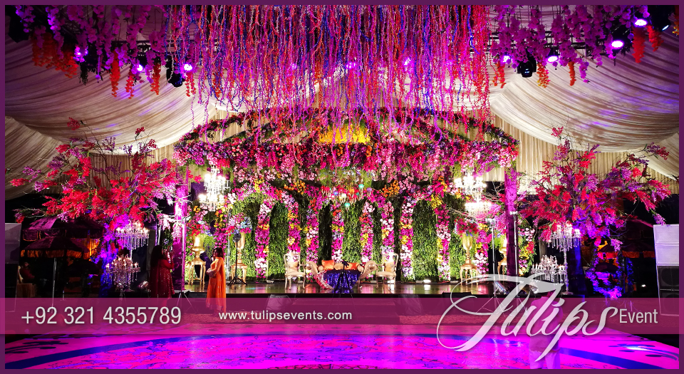 Mehndi Flower Arrangements : Enchanted mehndi stage dance floor roof decoration ideas in