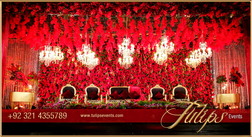 Royal Red Gold Wedding Reception Stage Floral Backdrop ideas in ...