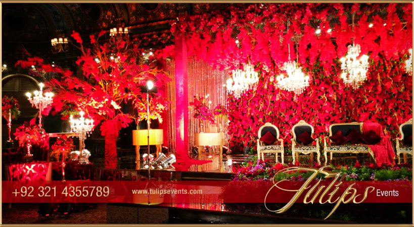 Red Gold Wedding Reception - Tulips Event Management
