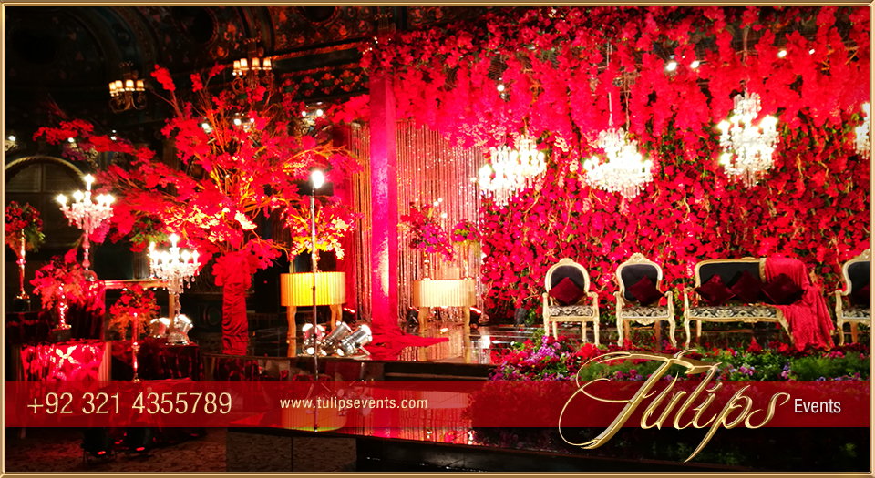 Royal Red Gold Wedding Reception Stage Floral Backdrop Ideas In Pakistan 12 Tulips Event Management