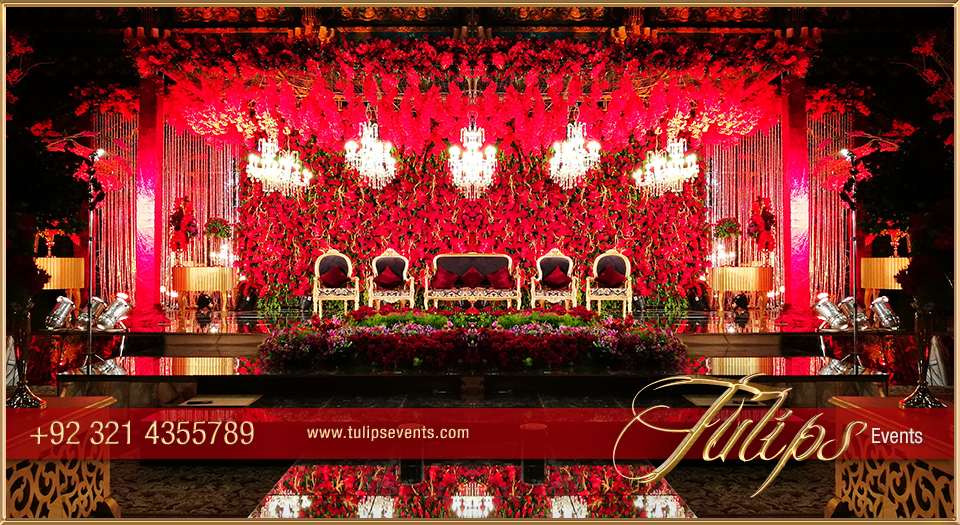 Red Gold Wedding Reception