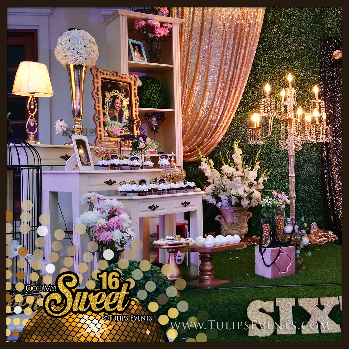 Home Decor Party Plan Companies: Sweet 16 Golden Green Outdoor Birthday Party Ideas In