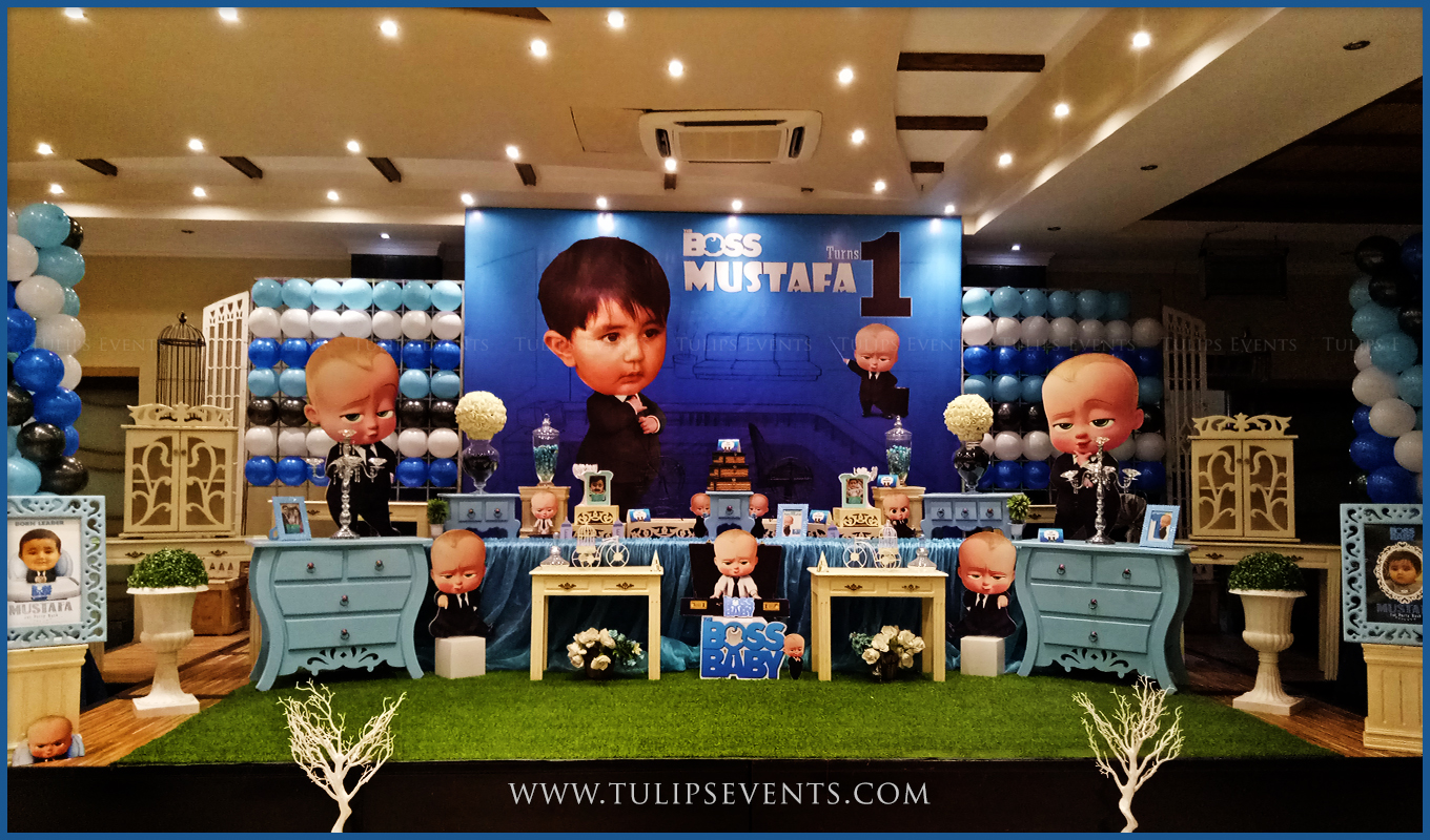 Boss baby party decor ideas by tulips events in pakistan for Baby birthday party decoration